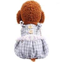 Собака одежда мода спагетти ремешок плед кисточкой комбинезон щенок кошка комбинезон четырех ног нагрудник брюки для Teddy Pomeranian Chihuahua Rompers1