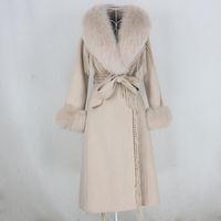 Oftbuy X-Uzun Püskül Kaşmir Yün Karışımları Gerçek Kürk Kemer Kış Ceket Kadınlar Doğal Fox Kürk Yaka Manşetleri Streetwear 201103