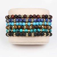 Pulseras de encanto Pulsera vintage gótica Hombres Clásico Natural Lazurita Tigre ojo Lava Piedra Beads para mujeres Accesorios de joyería1