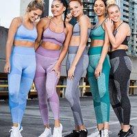 Likra Dikişsiz Yoga Set Kadın Spor Sutyen Üst Spor Kadın Spor Tayt Push Up Strappy Seksi Spor Takımları Egzersiz Seti C0122