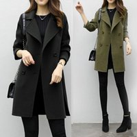 Mode Womens Herbst Winter Warme Jacke Casual Langarm Zweireiher Wolle Windjacke Outwear Cardigan Mantel Mantel # G3