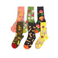 Мужские носки Peonfly Мужчины смешные японские стиль красочные лотос милый мультфильм животных кошка птица счастливый Kawaii Цветочный принт Хлопок