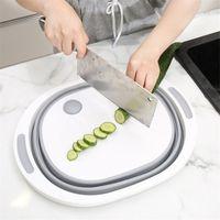 المطبخ تقطيع كتلة أداة متعددة الوظائف طوي قطع مجلس مطبخ سيليكون قابلة للطي صحن حوض الغسيل الخضروات سلة T200708