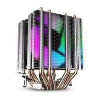 Dizüstü Soğutma Pedleri CPU Hava Soğutucu 6 Isı Boruları İkiz Kule Soğutucu 90mm Gökkuşağı LED Hayranları Ile 775/1150/1155.1556/13661