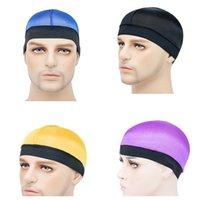 Унисекс плавать кепки женщин мужчины шелковистые купольные шляпы защитные волосы твердые купольные колпачки новая эластичная волна колпачков широкополосный ленточный парик химической шляпы E122810