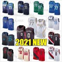 Doncic 77 Damian 0 Lillard Luka Jerseys Carmelo 00 أنتوني ديرك 41 Nowitzki Kristaps 6 Porzingis City Men 2021 جديد كرة السلة جيرسي