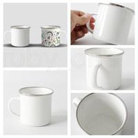 Sublimation émail Tasse à café 12oz Camping Tasse Métal Tasses à café en acier inoxydable Tasse en acier inoxydable durable Tasses de boissons en émail durables RRA4033