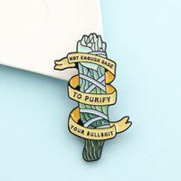 Karikatür Yosun Şeklinde Broş Pins Emaye Komik Mektubu Metal Broşlar Kızlar Hediye Takı Düğme Yaka Rozetleri Çanta Giysi Denim Gömlek Pin