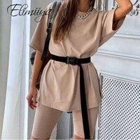 Tracksuits Femmes Elimiyya 2021 Deux pièces Set avec ceinture Femmes Solid Home Loose Sports Mode Casual Tracksuit 2 Jeux de poupée Femme O