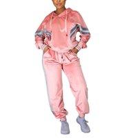 Frauen Zwei Stück Set-Farben-Block mit langen Ärmeln Kordelzug Velvet losen Sport Klage-Mädchen