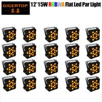 TIPTOP 20XLOT Yeni 12x15W RGBAW İnce DMX LED Düz Par Can Amber Renkli LED Slim Par Işık Disco Club Party 5 Renk Değişimi Strobe