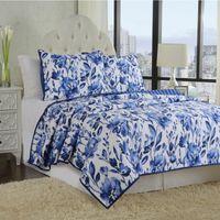 Porcellana Blu e Bianco 100% Cotton Quilt Copriletto Set Set Full Queen Size 3 Pezzo, Copertura da letto consolatore floreale stile cinese1