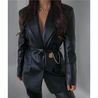 Couro feminino faux qinjoyer mulheres pu blazer bolsos colarinho colarinho Único peito preto jaqueta preto senhoras casaco casual