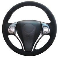 Handgenähtes Leder-Auto-Lenkrad-Abdeckung für Nissan Teana Altima 2013-2020 X-Trail Rogue 2014-2020 Qashqai Volant 15inch