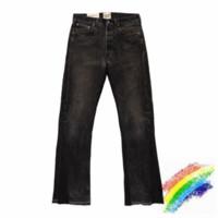 أسود جينز الرجال النساء 1 1 سروال أفضل نوعية المرقعة الدينيم