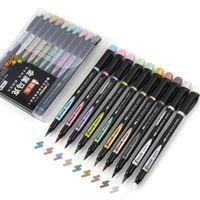10 unids Metallic Color Brush Pincher Pen Set 1-7mm Sugerencia Soft Dibujo Pintura Lettering Lettering Calligraphy Diseño Art Supplies F929 201225