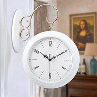 Horloge murale double face blanche design moderne Horloge murale silencieuse Horloge murale enfants créatif ronde cuisine wand klok watch1
