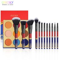 Docolor 12PCS 메이크업 브러쉬 전문 화장품 파우더 파운데이션 아이 섀도우 브러쉬 세트 9 색 아이 섀도우 누드 팔레트 키트 201008