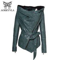 Aorryvla Yeni Sonbahar Kadın Ince Deri Ceket Hoodies Tam Kollu Kısa Uzunluk Casual Siyah Faux Deri Ceket Kemer Ile 201026