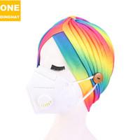 2021 Womans Turban Pliated Hat с маской для лица кнопки головы обертываются пальцами градиентные галстуки краска цвет х12304