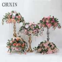 Custom 35cm artificial flowers rose ball wedding arrangement decor backdrop T station stand flowers home table garden decor