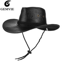 Cloches Gemvie Klassische Western Cowboy Hut Für Männer Frauen PU-Leder Breitrand Outdoor Sunhat mit verstellbaren Schnürung atmungsaktive Löcher