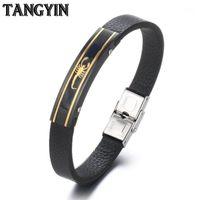 Charme pulseiras Tangyin preto punk pulseira de couro de aço inoxidável para homens jóias de ouro escorpião gecko fishbone forma vintage casal bracel