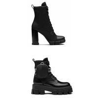 النساء مصمم البلاك أحذية الرايات الأحذية عالية الكعب 9.5 سنتيمتر الدانتيل يصل كاحل التمهيد النساء جلد أسود القتالية أحذية الشتاء الأحذية مع مربع
