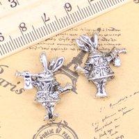 18 pcs jóias encantos 3D chifre coelho coelho 27x23x7mm antique prata banhado pingentes fazendo diy artesanal tibetano jóias de prata tibetana