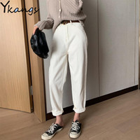 Women vintage High Waist White Jeans Mom Plus Size Slim Hare...