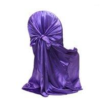 Vente chaude Nouveau 21 Color Self Cravate Soitin Universal Satin Chair de chaise pour Mariage Party Banquet Événement de Noël Decorations Restaurant Fournisseur 1