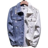 5XL Denim Veste Homme Automne Hiver Mode de préparation à la Casual Patchwork Col Manteau Denim Vestes Streetwear Homme Vêtements grande taille