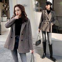 Женская шерстяная смесь Karolyidora Houndstooth талированные шерстяные пальто женщины 2021 зимняя мода товар корейский толстый костюм Woolen1