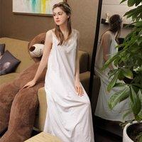 Été long sexy jupe dormant blanc 100% coton vêtement de nuit Spaghetti strap robe de nuit robe de nuit sans manches Lingerie Nightgown1