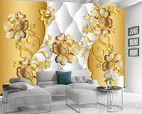 3d Wallpaper do quarto 3d Wallpaper para Paredes de luxo cravejado de diamantes delicado Flores Sala Quarto TV fundo Papel de Parede Parede