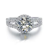 حقيقي 925 الفضة الذكرى الدائري أنثى 2 CT ممتازة جولة هالة i-j اللون NSCD محاكاة الماس خاتم الخطوبة للنساء