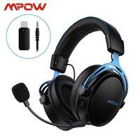 Fones de ouvido fones de ouvido mpow ar sem fio / fone de ouvido de jogo estéreo com fio para PS4 PC Xbox One 17h Playtime Headphone com Mic Transmissor USB Mem