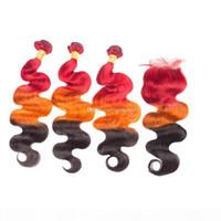 Ombre Color Rojo Naranja Negro Body Wave Wave Tejidos con cierre superior 4x4 Tres tonos Cuerpo ondulado Paquetes de cabello humano con cierre 4x4