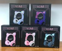 Lindas orejas para gatos auriculares inalámbricos que parpadean brillantes LED LED auriculares de juego para niña Regalo Colorido BT 5.0 HIFI Música estéreo con micrófono