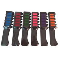 6 pcs / set nouvelle poudre de craie de couleur de cheveux tempérellicatifs avec peigne mini jetable mascara colorant multicolore