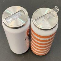 12Oz Sublimation Cola Can DIY 350 ml Wasserflasche Thermos doppelwandig Edelstahl Cola Form Tumblers isoliertes Vakuum mit Deckel Neu
