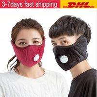 Capa de ciclismo de estoque dos EUA com pm2.5 moda espessa máscaras de boca ao ar livre de algodão válvula de respiração inverno boca-muffle earflap capa máscara fy9267