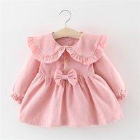 Focusnorm 0-4Y 가을 아기 소녀 공주 드레스 솔리드 러프 긴 소매 Bowknot A 라인 드레스 3 색 LJ200923
