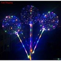 LED Bobo Balon Dize Balon LED Işık Noel Cadılar Bayramı Doğum Günü Balonları Qyldln Hairclippersshop