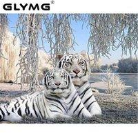 Glymg DIY 화이트 타이거 다이아몬드 자수 동물 그림 다이아몬드 페인팅 크로스 스티치 전체 사각형 드릴 홈 장식 모자이크 gift1