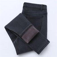 Sonbahar Kış Artı Kadife Kot Kadın Yüksek Bel Kalın Sıcak Pantolon Kore Bayan Streç İnce Dış Aşınma Termal Kalem Pantolon 201225