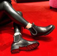 Boda famoso invierno de las mujeres inferiores rojas Botas Capahutta las botas del tobillo del cuero Negro Lug Sole alta calidad Diseñador Partido botines planta del pie roja