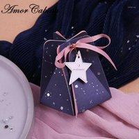 네이비 블루 로맨틱 스타 웨딩 캔디 박스 파티 용품 선물 상자 반환 선물 Bomboniera 초콜릿 리본 Label1