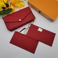 Venda quente Pochette Senhoras Patent Messenger Bag 3 Piece Set Wallet Messenger Bag Bolsa Presbyopia Designer de ombro do desenhador Senhora cinto