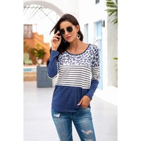Leopard Stripe solide Patchwork Femmes T-shirts Automne 2020 Top Casual T-shirts en coton Vêtements O-Neck Femme T-shirt Mme Vêtement